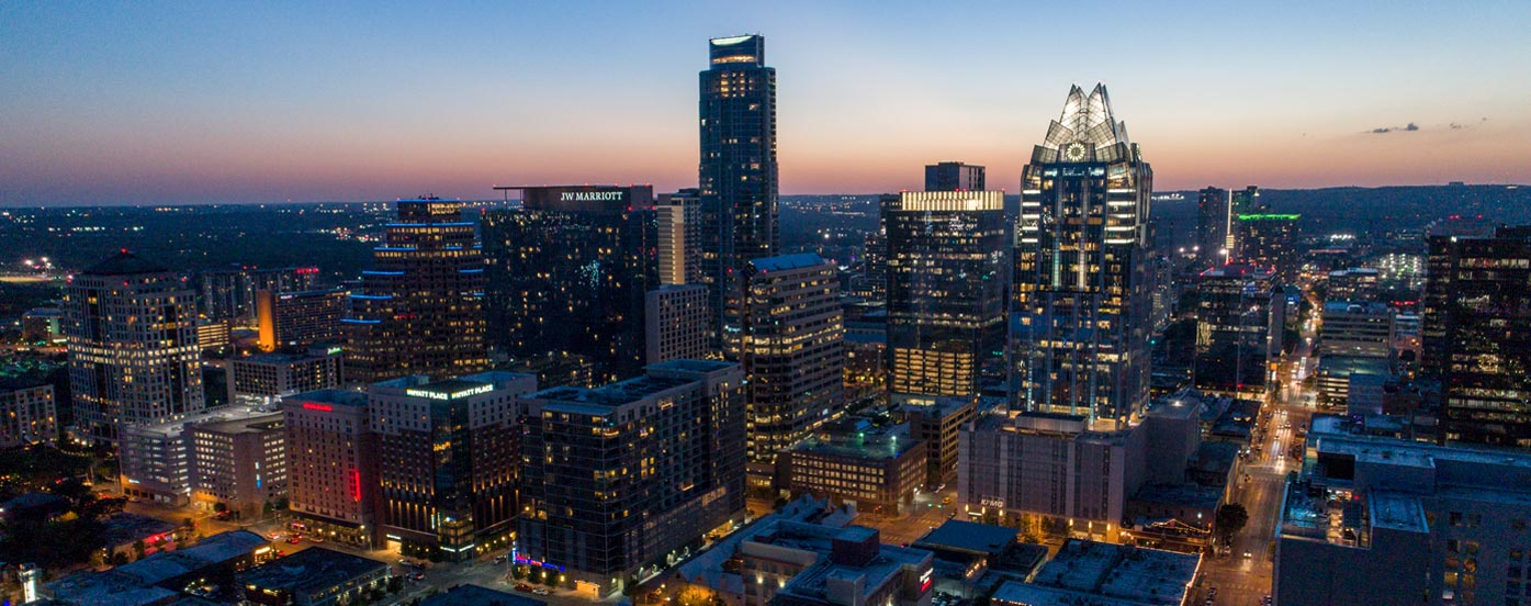 Aerial Image of the beautiful Austin, Texas Skyline